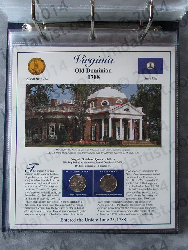 Postal Commemorative Society Statehood Quarters Collection Virginia page