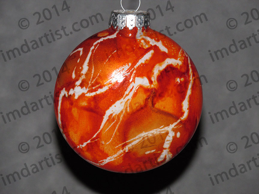 "3"" Creamsicle glass disc ornament"