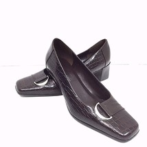 Etienne Aigner Manzoni Pumps 7.5 W Brown Leather 2 Inch Heel Reptile and Smooth - $29.69