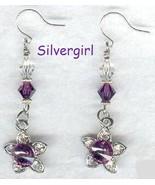 Amethyst Flower Crystal Dangle Earrings - $14.99