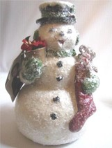 Retro Style Snowman figure Top Hat Christmas Stocking gifts - $35.59