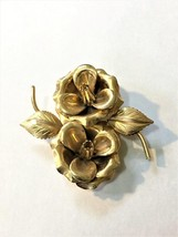 Vintage Gold Tone Double Camillia Flower Brooch Pin - $19.33