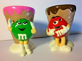 M&M Ice Cream Shop Lot of 2 Red and Green Waffle Cone Dish Cup - $22.77