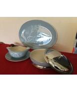 Flintridge Reverie Blue Damask Leaf Strata Serving Set Platter Gravyboat... - $50.00