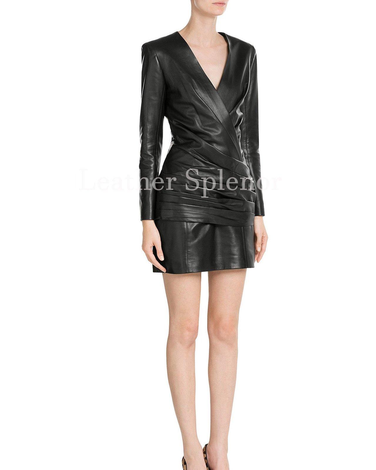 Wrap Style Women Leather Dress