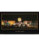 """Las Vegas NV Poster Historical Full Moon Over Strip US Seller 15"""" X 26"""" ... - $14.99"""