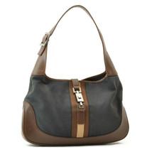 GUCCI Sherry Line Canvas Shoulder Bag Black Brown Auth rd007 - $198.00