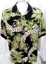 Hawaiian ALOHA shirt L pit to pit 25 HILO HATTIE cotton rayon floral polo - $16.65