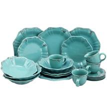 Elama Fleur De Lys 20-Piece Dinnerware Set in Turquoise - $65.88