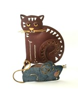 Cat and Mouse Cut Tin Metal Fork Art Animal Votive Candle Holder Plant H... - $15.60