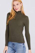 Active USA Long Sleeve Turtle Neck Viscose Rib Sweater Women Fall Tops O... - $24.00