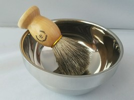 Justice Shaving Company Stainless Steel Shave Bowl & Pure Badger Shave B... - $33.98