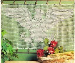 Statue of Liberty American Flag Eagle Crest Cafe Curtain Crochet Doily P... - $8.99