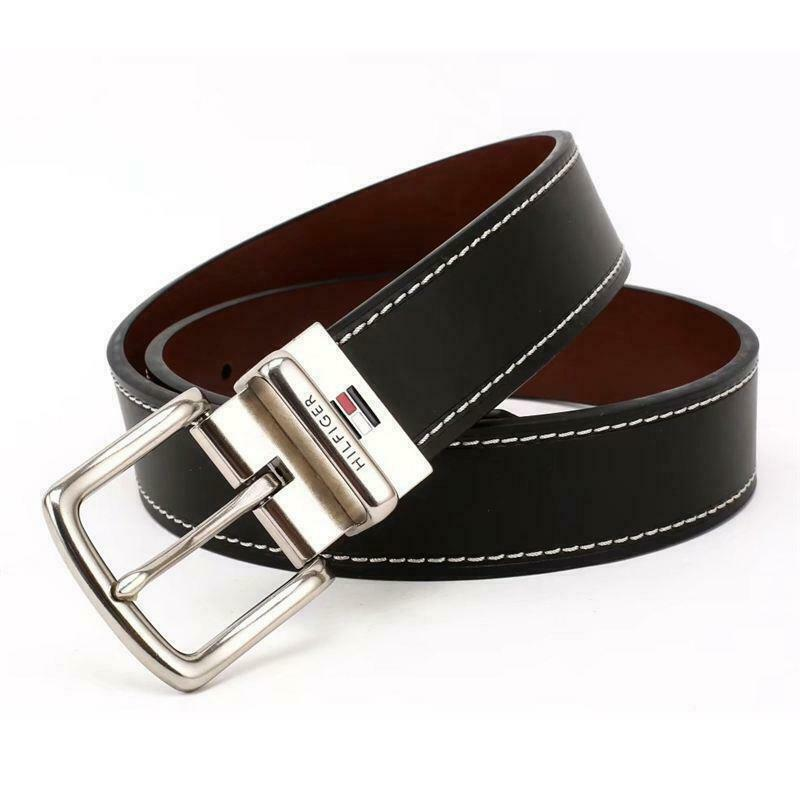 Tommy Hilfiger Men's Reversible Contrast Stitching Leather Belt 11TL08X009