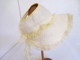 Vintage Baby Doll Hat Yellow Bonnet for a Large Size Doll - $24.99