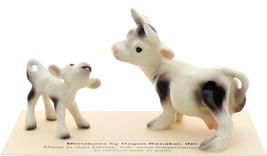 Hagen-Renaker Miniature Ceramic Cow Figurine Spotted Mama and Baby Calf image 3