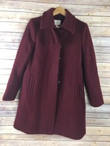 LOFT Wool Coat M Medium Dark Red Blend Below Knee Dress Heavy Lined - $59.37