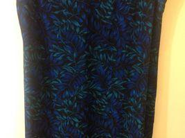 Studio I Black Sleeveless Dress w Blue/Teal Foliage Pattern Sz 18 image 3