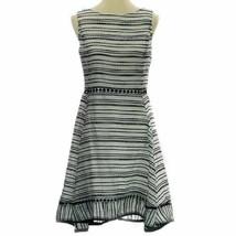Taylor Textured-Stripe Fit & Flare Dress, 14 (14, Ivory/ Black) - $39.19