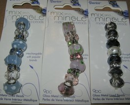 25 Metal Lined Glass Bead Lot 3 Black White Pink Blue Lg Hole Spacers Mi... - $8.90