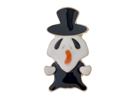 Goldtone Black & White Ghost Halloween Pin & Brooch - $8.95