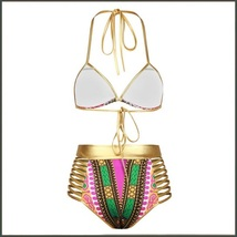 Purple Design Pattern Halter Top High Waist Gold Straps Bandage Bikini Swim Suit image 4