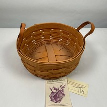 Longaberger Basket DARNING Leather Handles Warm Brown 1994  - $34.99
