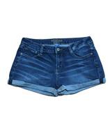Arizona Jean Co Booty Shorts Juniors Sz 11 Cuffed Med Wash Distressed - $15.96