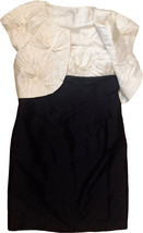 Calvin Klein 2 pc Eggshell Black Pleated Bodice Taffeta Dress w Bolero J... - $80.75