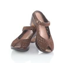Jambu Journey Brown Suede Cut-Out Sport Wedge Sandals Peep Toe Mules Womens 6 - $44.39