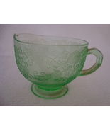 Green Vaseline glass pressed glass creamer. - $10.00