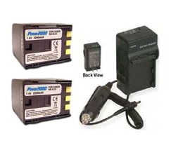 Two 2 Battery + Charger for Canon ZR830 ZR850 ZR900 ZR930 ZR950 ZR960 VIXIA HV20 - $80.06