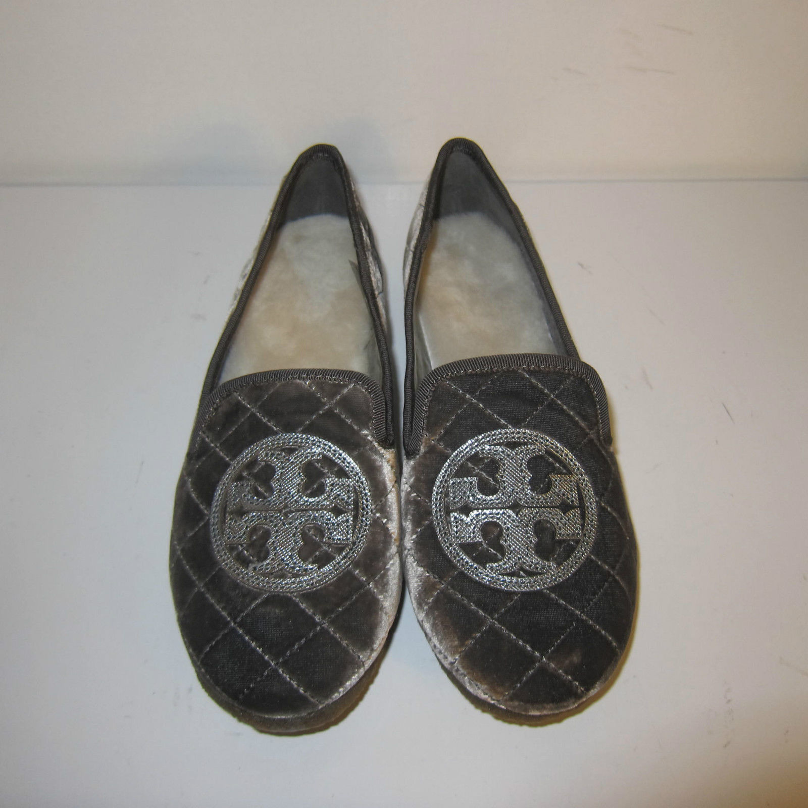 0d4bf8711ab C-1242970 New Tory Burch Gray Pewter Quilted Billy Slippers Shoes Size US 6