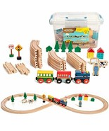 On Track USA Figure 8 Wooden Train Set, 35 Piece Deluxe Set - $34.04