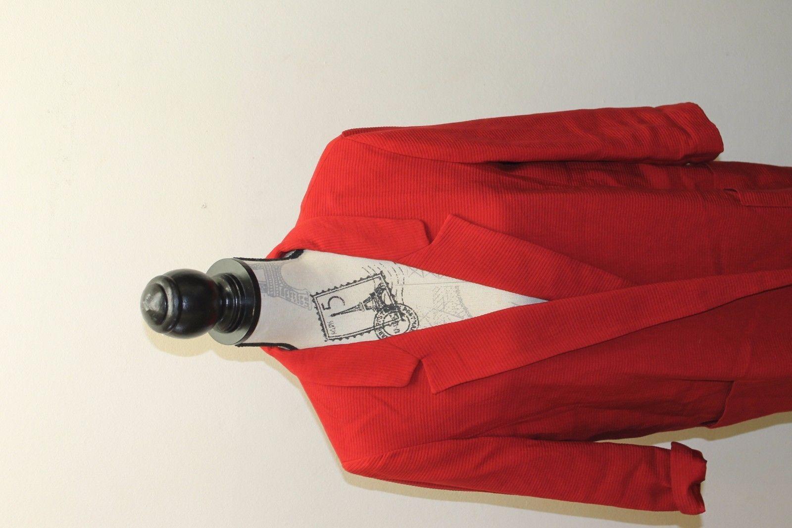 Zara Basic Open Women Long Blazer Red Textured Cotton Blend Large Lined