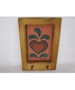 """Heart Key Hanger Folk Art Applique 8.75"""" Valorie Sockwell 1983 - $9.89"""