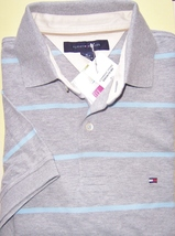 NEW! authentic TOMMY HILFIGER Polo SHIRT (M) striped GRAY/ blue NEW w T... - $29.99