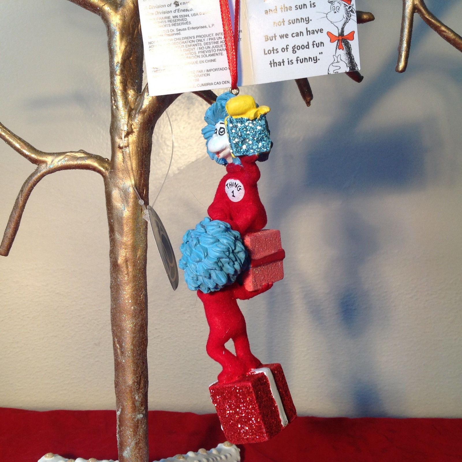 Dr. Suess Thing One and Thing Two Christmas Ornament with Presents Department 56