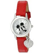 Disney Women's MK1018 Mickey Mouse Red Lizard Strap with Charm Watch - $15.93