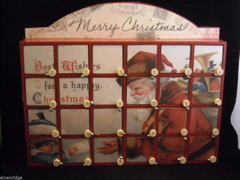 Red Christmas Wooden Box Countdown Calendar vintage Santa portrait advent