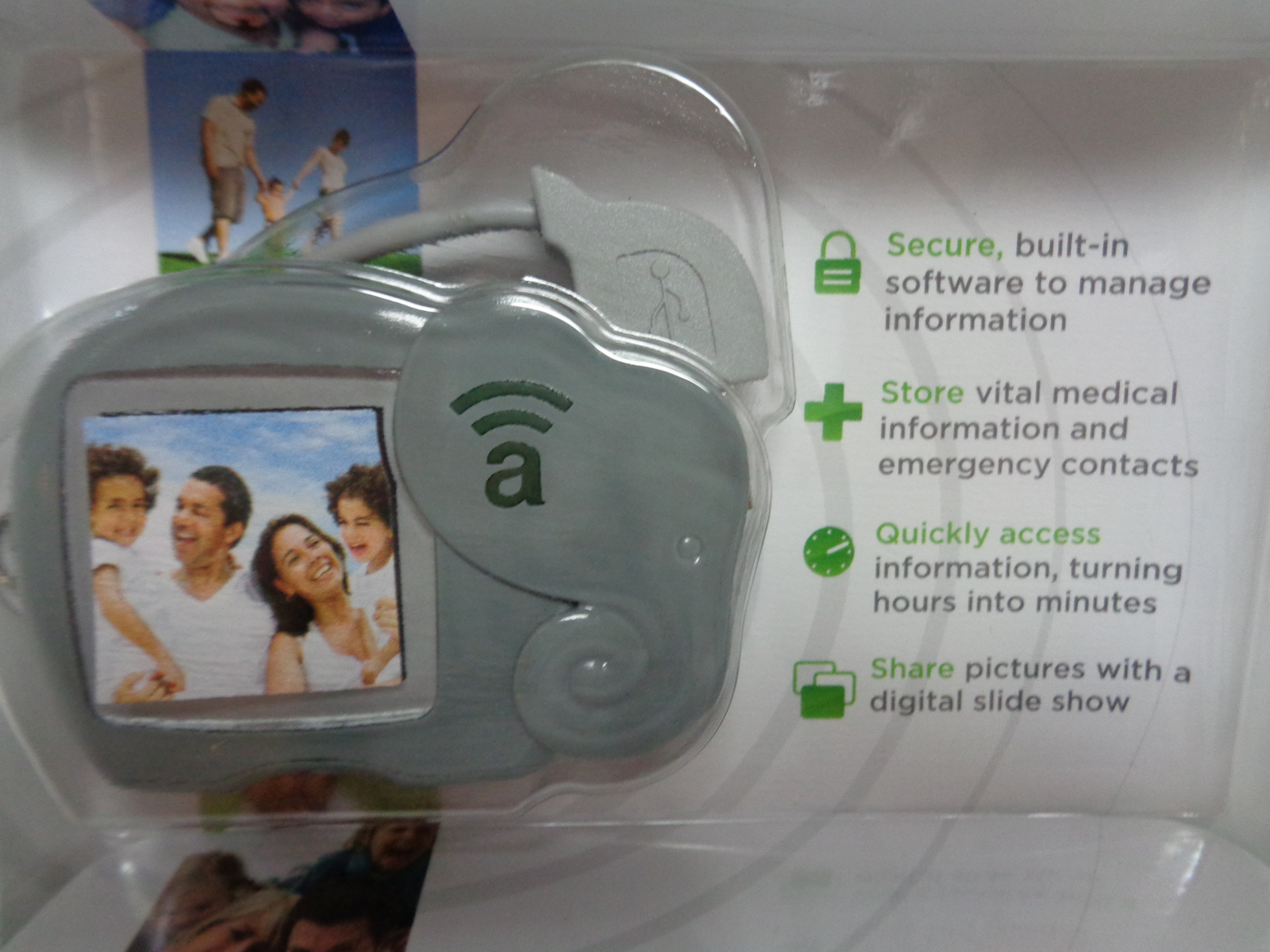 New Amber Alert My Child ID Safeguard Child Vital Information Gray Elephant USB
