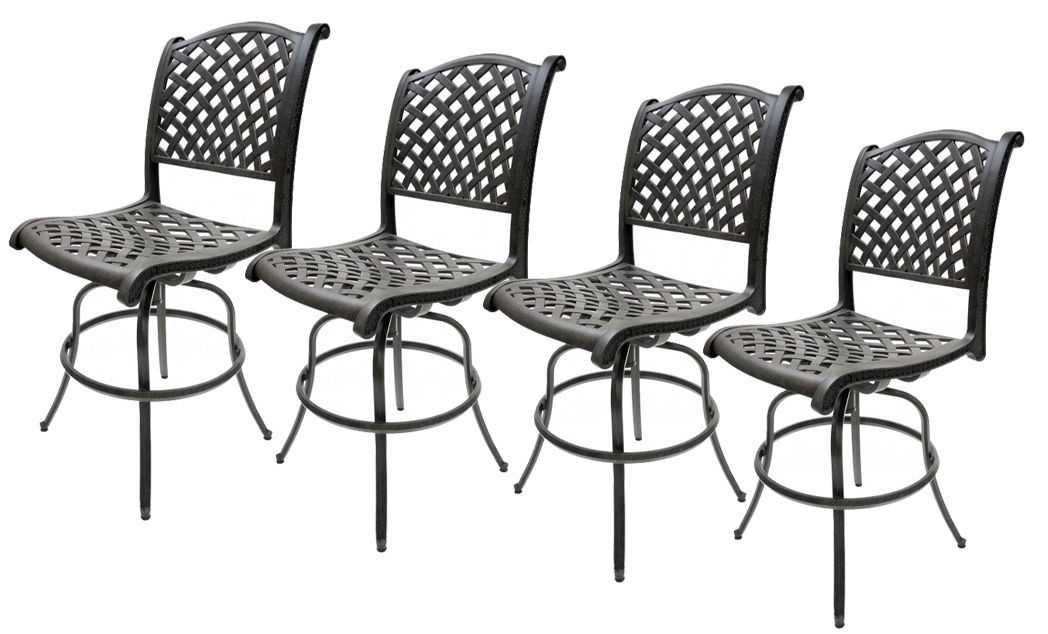 Outdoor Swivel Bar Stools Set of 4 Las Vegas Patio Furniture Sunbrella Cushions