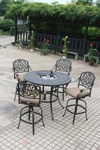 Patio 5 piece set outdoor Furniture Cast Aluminum bar height Elisabeth Bronze image 1