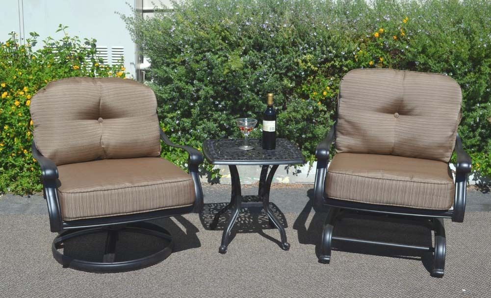 Patio Furniture Set 3pc Elisabeth Club Rocker Spring Base Swivel Chairs aluminum