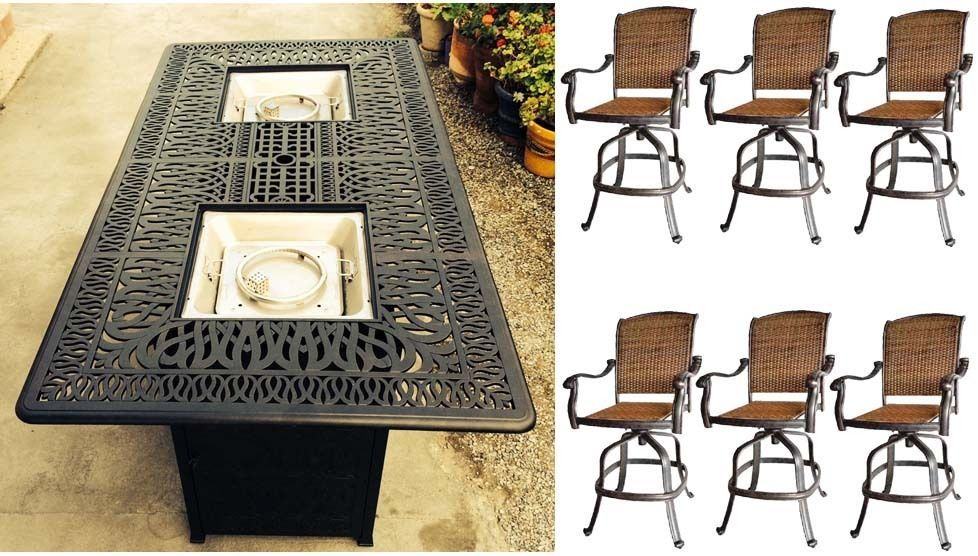 Outdoor Bar Set Cast Aluminum Propane Fire Pit With Santa Clara Swivel Bar stool