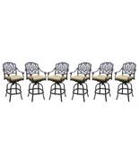 Patio bar stools set of 6 Elisabeth cast aluminum outdoor barstool Bronze - $1,579.99