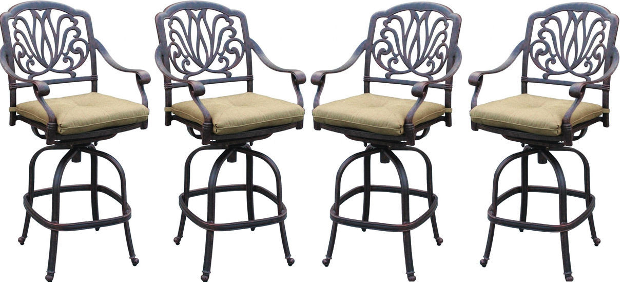 Patio bar stool set of 4 Elizabeth cast aluminum Outdoor swivel Barstools Bronze