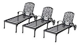 Patio lounge set 3 Adjustable Chaise Outdoor Elisabeth Cast Aluminum Bronze - $1,686.95