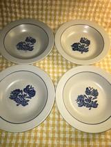 "4 PFLATZGRAFF Yorktowne 8.5"" soup salad bowls stoneware blue gray made U... - $32.30"