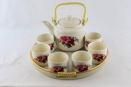 Asian Tea Set- Teapot, 6 Cups and Tray - Rose Flower Blossom Design - £25.17 GBP